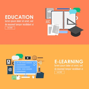 Education and e-learning vector banner. online learning  flat design