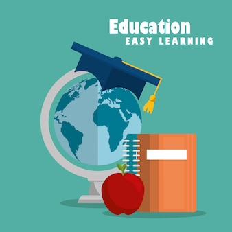 Education easy learning set icons