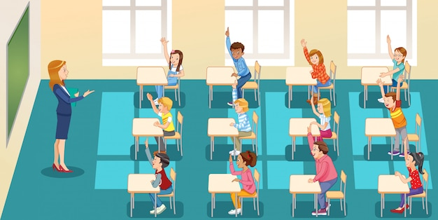 Education, elementary school, learning and people, groupschool kids with teacher sitting in classroom and raising hands