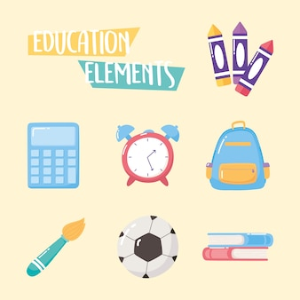 Education elements icons backpack clock book crayons brush school elementary cartoon
