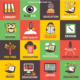 Education elements icons collection