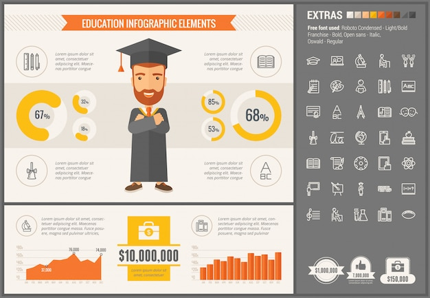 Education flat design infographic template and icons set