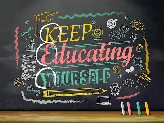 Education flat design, keep educating yourself written on chalkboard