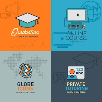 Education flat icons vector illustration