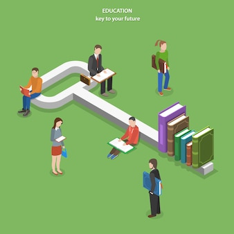 Education flat isometric