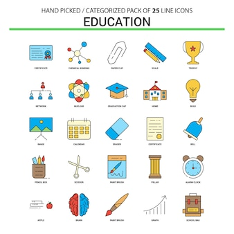 Education flat line icon set