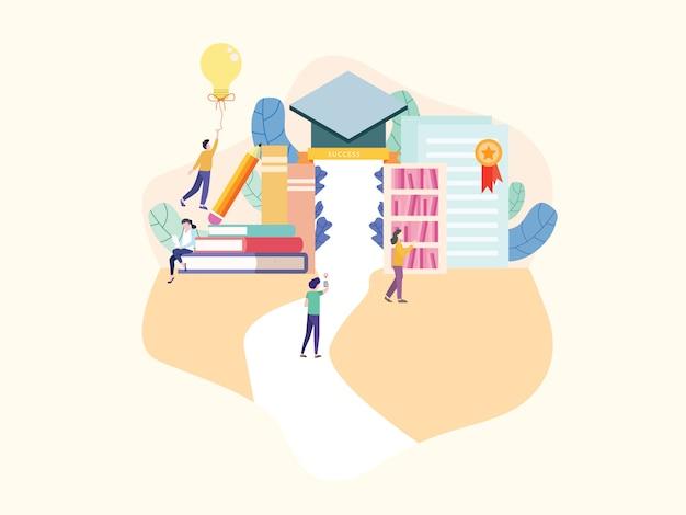 Education flat vector illustration.