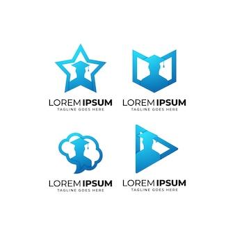 Набор дизайн логотипа образования для выпускного