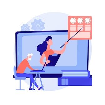 高齢者のための教育。ノートパソコンでオンラインコースを視聴し、学位を取得しているシニアカップル。ウェビナー、インターネットセミナー。ベクトル分離概念比喩イラスト