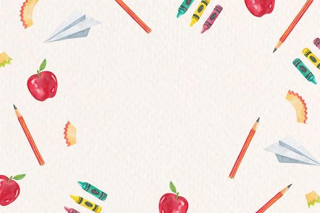 Cornice didattica di oggetti scolastici in acquerello