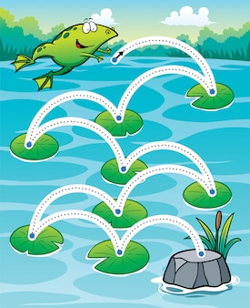 Education frog jump - line dot