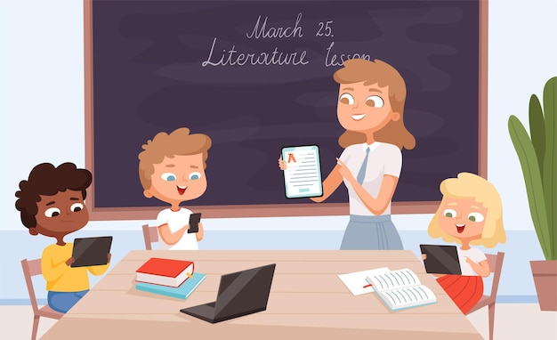 교육 도구. 아이들과 함께 앉아서 스마트 폰 화면에 몇 가지 그림을 보여주는 교사 노트북 및 태블릿 pc와 아이