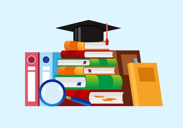 教育卒業生、本の参照概念学生の本のイラストフラットベクトル