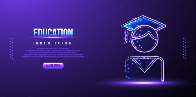 Education graduate low poly wireframe