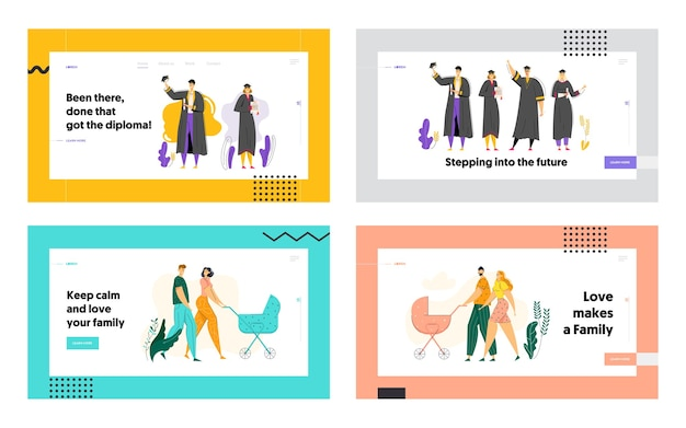 Education and graduation concept landing page. happy graduated students with diploma.