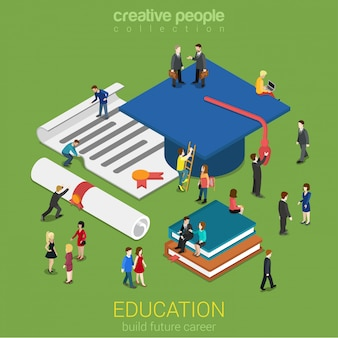 Education graduation license certificate concept little micro people with big graduate cap books diplomas flat isometric