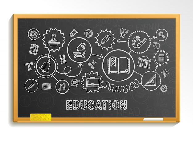 教育の手は、教育委員会に設定された統合アイコンを描画します。インフォグラフィックサークルイラストをスケッチします。接続された落書き絵文字、ソーシャル、eラーニング、学習、メディア、知識インタラクティブな概念