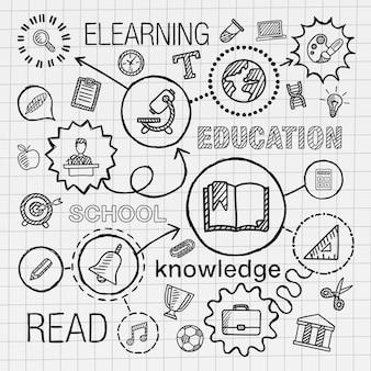 교육 손으로 그리는 통합 된 아이콘을 설정합니다. 종이에 선 연결 낙서 해치 무늬와 infographic 그림을 스케치합니다. 전자, 네트워크, 학교, 대학, 정보, 지식 개념