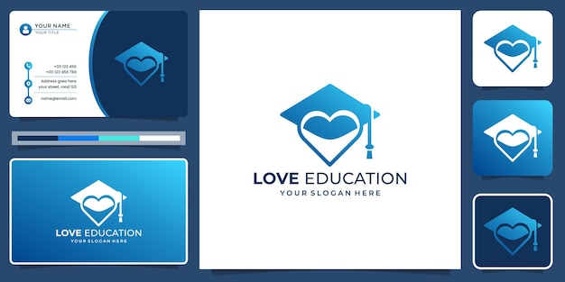 Education hat toga logo with love silhouette shape concept. creative love education logo inspiration