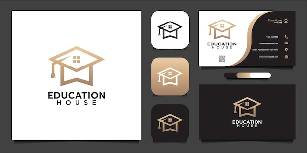 Education home logo design and business card