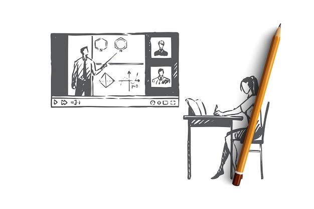 教育、家庭、学生、インターネット、コンピューターの概念。インターネットの概念のスケッチで自宅で主題を学ぶ手描きの女性。図。