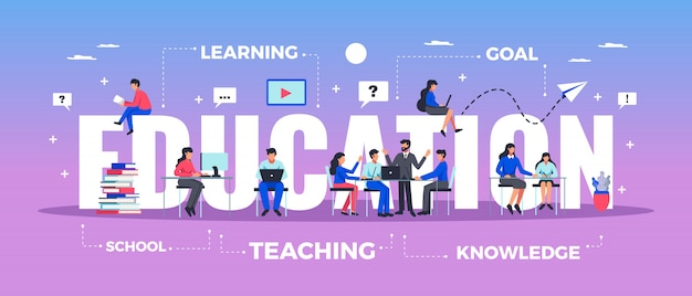 Education horizontal typography banner set with learning and knowledge symbols flat  illustration