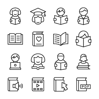 Education icons in line pack