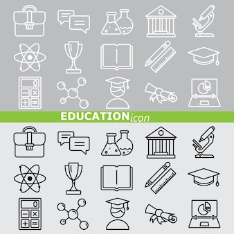 Education icons. linear set.
