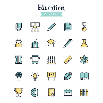 Education icons vector filled outline style