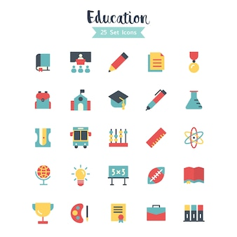 Education icons vector flat style