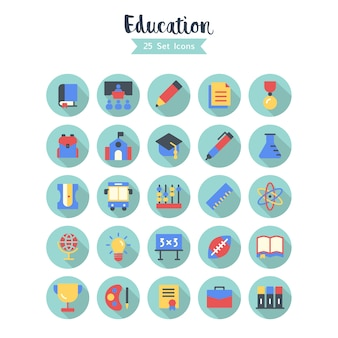 Education icons vector long shadow style