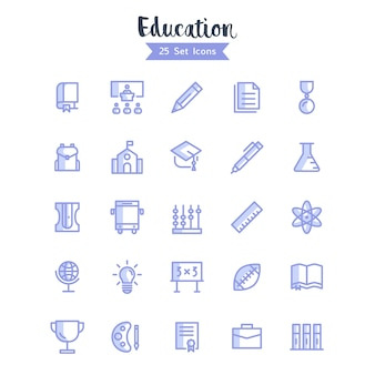 Education icons vector modern style