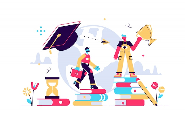 Education  illustration. tiny knowledge learning person concept.