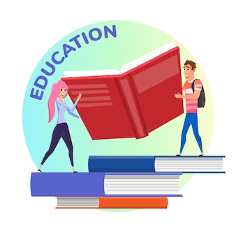 Education illustration with students holding huge book