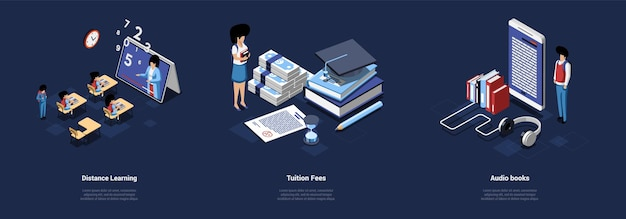 Education illustrations three different isometric compositions of  distance learning, tuition fees, audio study books