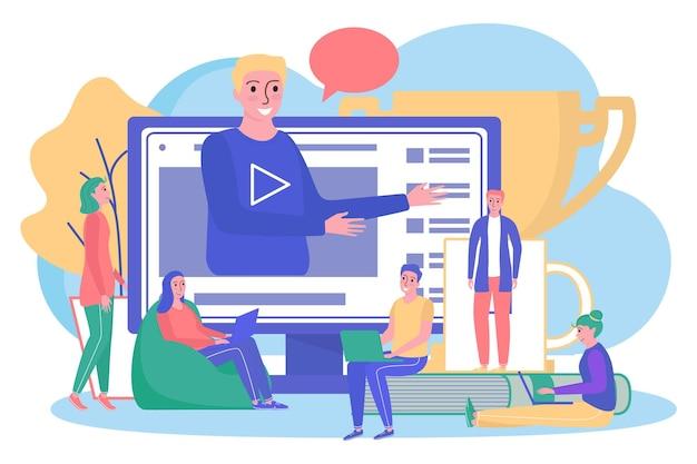 インターネットでの教育、ベクトルイラスト。人々はオンラインでコンピューターを使ってキャラクターを勉強し、フラットな人はコンピューター技術から学生に教えます。