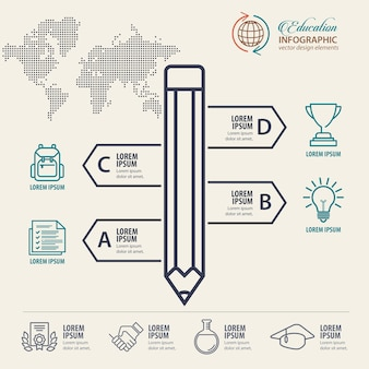 Education infographic concept with pencil and icons