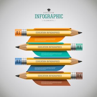 교육 infographic 디자인, 옵션이 있는 현실적인 연필