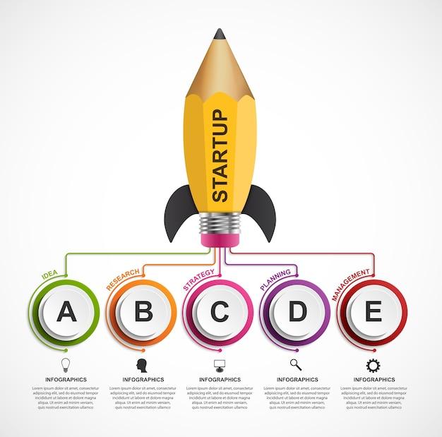 教育インフォグラフィックデザインテンプレート。