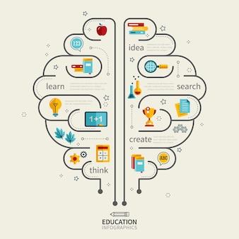 人間の脳とアイコンを使用した教育インフォグラフィックデザイン