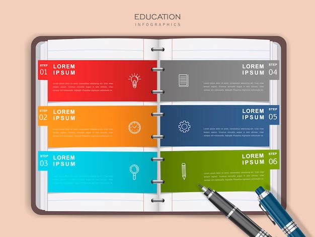 Education infographic design with options on binder paper