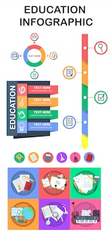 Education infographic elements and logos