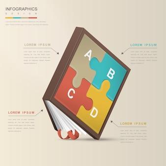 Дизайн шаблона инфографики образования с элементом книги