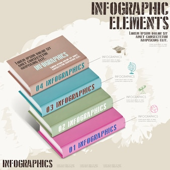 Education infographic template design with book stairs