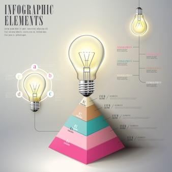 Образовательный инфографический шаблон с лампочкой и пирамидальной диаграммой