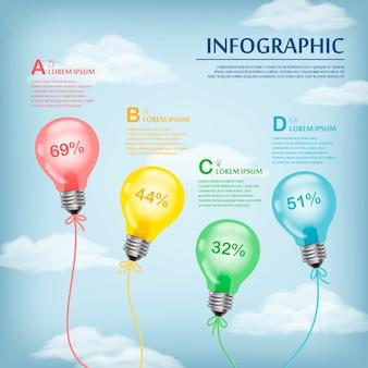 Образовательный инфографический шаблон с воздушными шарами