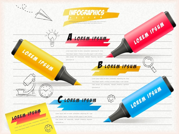 Education infographic template design with highlighters draw on notepaper