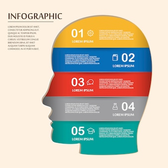 Education infographic template design with human head elements