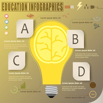 Education infographic template design with light bulb element