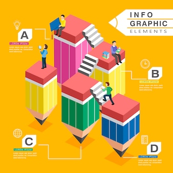 Education infographic template design with lovely pencil stairs
